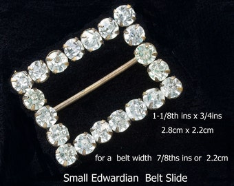 Small Sparkling Edwardian Belt Slide,Clear Paste Rhinestones VGC 1910s -Belt Width 3/4ins 2.2 cm ,Vintage Accessory, Supply