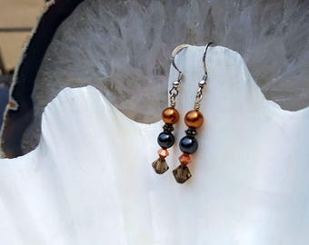 Black and Copper Swarovski Pearls and Crystals Drop Earrings