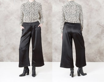 sale PALAZZO pants BLACK satin POCKETS vintage women cocktail evening wear Women / size 10 12 / better Stay together