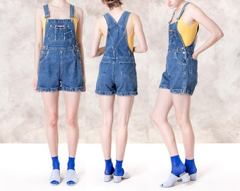 DENIM OVERALL SHORTS woman 90s basics Jean vintage Spring summer Small / Medium better Stay together
