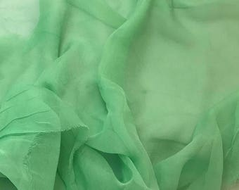 Silk Gauze Chiffon - Hand Dyed Pear Green - 1/2 Yard