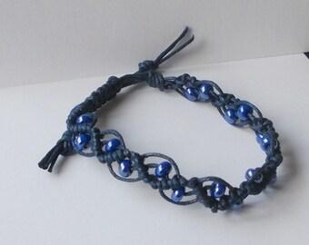 Armband Mikrama Makramee blau