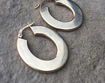 14k Gold Hoop Earrings Gold Hoops Vintage 14k Gold Hoops 14 karat Hoop Earrings Italy Gold Earrings