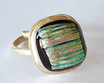 Sterling Silver Ring, Dichroic Glass Jewelry, Wrap Around Ring, Pink and Blue, One of a Kind, Contemporary Jewelry, Made in USA