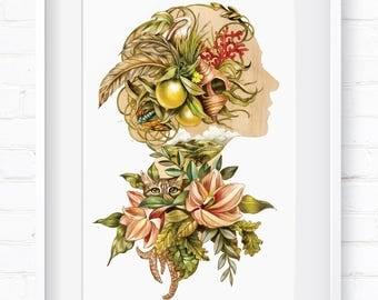 Woman with Cat, Cameo, vintage botanical, Home Decor, Wall Art, Art Print, Wall Decor, Giclée Print, Animal Print, Fauna, Flora, Botanical