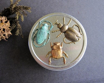 Beetle Trinket Box, Insect Jewelry Tin, Round Tin, Entomology Lover, Beetle Tin, Catch All Tin,  Bug Tin, Gift Tin, Brass Bugs, Bug Lover
