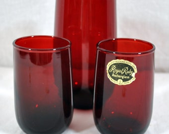 Set of Three Anchor Hocking Royal Ruby Glass Tumblers - Red Glasses - Vintage Anchorglass