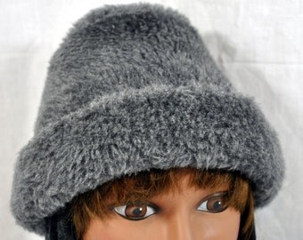 Vintage Women's Winter Hat - Grey BCharcoal and Brimmed - Acrylic Faux Fur - Black With Ear Covers and Neck-Ties
