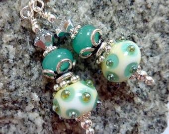 Celadon Green & Ivory Earings, Handmade Lampwork Beads, Sterling Silver Earwires, Gift for Her, Handmade Earrings