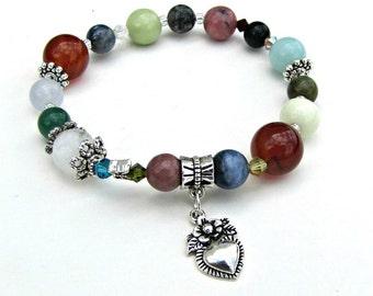 Gemstone Stretch Bracelet,  Carnelian, Rhodonite,Blue Opal,Cloud Quartz, fits 6 3/4 to 7 inch wrist, Body Jewelry, Heart charm Item1194