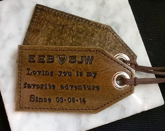 Personalized - 3rd Anniversary - Loving you is my favorite adventure - leather luggage tag with privacy flap