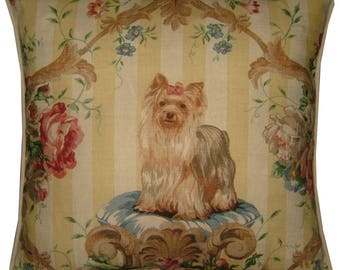 Lee Jofa Putting On the Dog Yorkie Yorkshire Terrier Linen Tapestry Cushion Pillow Cover Sham