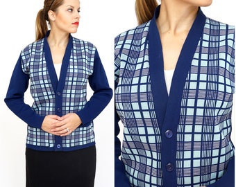 Vintage 1960s Square Plaid Patterned Navy and Light Blue Cardigan Sweater | Medium