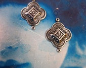 Sterling Silver Ox Plated Brass Floral Clover Connectors 766SOX x2