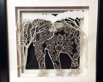 Elephant Paper Shadow Box
