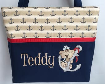Nautical Teddy BEAR  .... ANCHOR   ... Personalized Diaper Bag