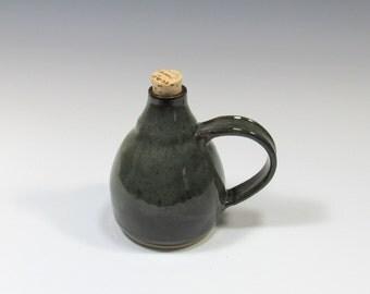 Ceramic bottle with cork stopper - Oil bottle - oil dispenser - salad oil bottle - Decanter - oil cruet - sake jar - Bottle with stopper