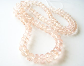 Gem Peach Morganite Faceted Roundels - Half Strand - 4 to 8mm - 8 Inches