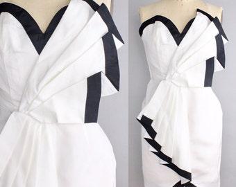 Vintage Origami Dress | Black and White Party Dress | Sweetheart Neckline Mini Dress | xxs