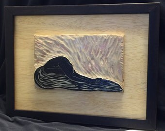 FRAMED Original Block and Print Blue Planet Original Color Woodcut with Cork and Cherry Blocks