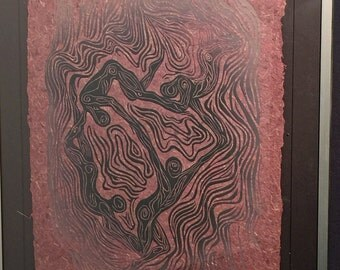 FRAMED 20X16 Woodblock Print Floating World IV Dancing Figures Surreal Woodcut on Hickory Handmade Paper