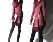the reader boho dress asymmetrical knit tunic dress / deconstructed knit tunic /  gray winter sweater / burgundy tunic (Y1673u)