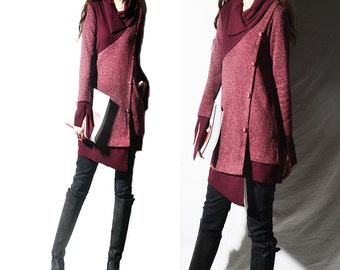 the reader boho dress asymmetrical knit tunic dress / deconstructed knit tunic /  gray winter sweater / burgundy tunic (Y1673u)