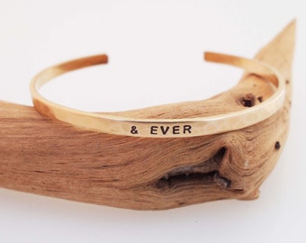 Bronze Anniversary Bracelet,  Hammered Bronze Cuff, and EVER Bracelet, Personalized Cuff, 8 Year Anniversary Gift