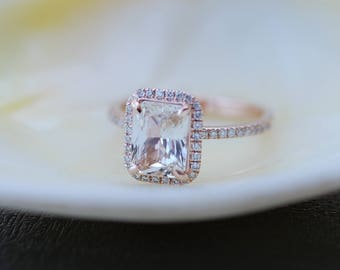 Champagne Engagement Ring. Emerald cut sapphire ring. 14k rose gold diamond ring 2.16ct sapphire engagement ring by Eidelprecious