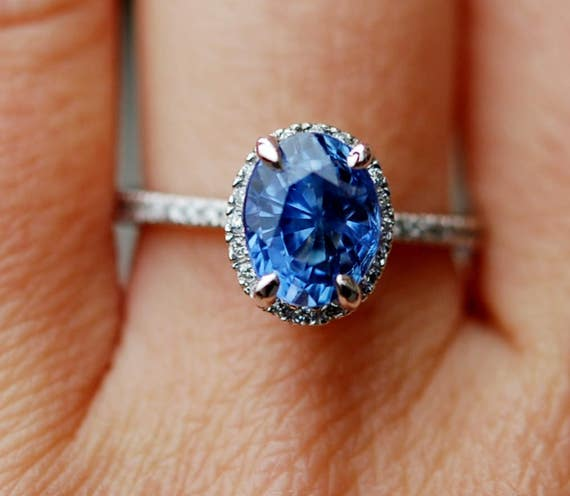 Oval Blue Sapphire Engagement Ring. White Gold Engagement Ring 3.03t oval blue sapphire ring. White gold ring.