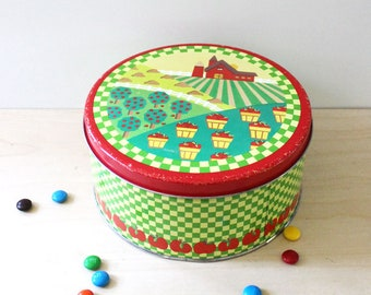 The Apple Farm. Vintage round collectible tin box.