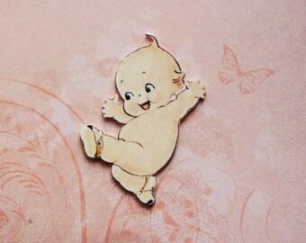 Vintage Easter Kewpie - Shrink Plastic Pin Brooch - Handmade