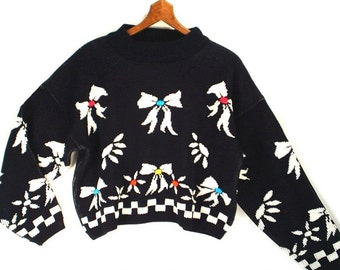 80's vintage novelty cropped sweater // slouch sweater // RIBBONS and BOWS M