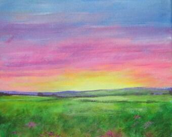"ORIGINAL ACRYLIC PAINTING: ""Sunset"" 10"" x 10"" landscape, acrylics on stretched canvas."