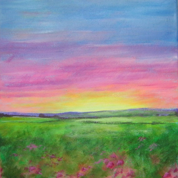 "ORIGINAL ACRYLIC PAINTING: ""Sunset"" 10"" x 10"" landscape, acrylics on stretched canvas."