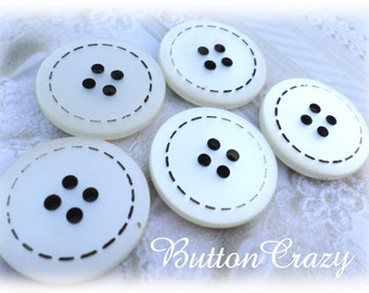 5 White and Black Vintage Buttons 7/8 Inch Buttons for Sewing Crafts
