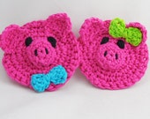 Mr. and Mrs. Piggy  Crocheted Dish /Pot Scrubbies , Kitchen Cleaning, Nylon Scrubber pds102