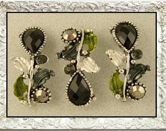 2 Hole Beads Leaf, Vine, Teardrop with Smoke & Hematite Swarovski Crystal Elements ~ Sliders QTY 3