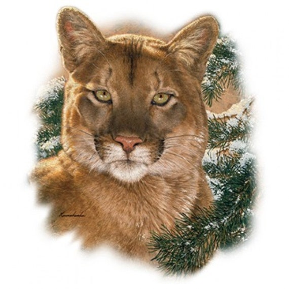 """COUGAR (or Mountain Lion) Head on 18 x 22 inch fabric panel For Quilting and Sewing. Actual picture is approx 8.5"""" x 11"""" on white background"""
