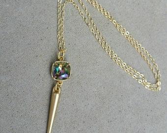 Beautiful Swarovski Crystal Long Spike Necklace, Paradise Shine