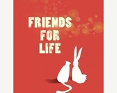 50% Off - Black Friday Rabbit Cat Art - Friends for Life (red) - 8x10