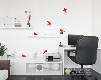 6 Birds Sitting & Flying - Home Decor - Bird Decor - Wall Art Graphics - Decals Stickers - Wall Decal - Vinyl Lettering - Wall Art 1946