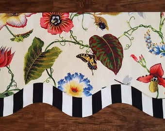 Floral, Black and White Geometric Modern Layered Shaped Swag Valance - stripes, butterflies
