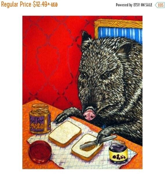 30 Off Javelina Making a Peanut Butter and Jelly Sandwich Animal Art Print