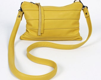 Roxy Cross Body Purse in Yellow Leather Handbag