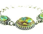 Egyptian Scarab Silver Bracelet, Vintage Cabochon, One of a Kind Jewelry, High Fashion Jewelry
