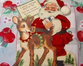 flocked santa and deer card