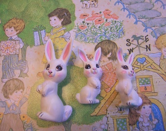 hand painted ceramic white rabbits