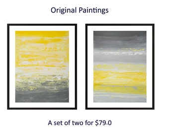 Yellow grey wall art abstract acrylic painting Set of two original art gift for her wall decor home office decor by qiqigallery