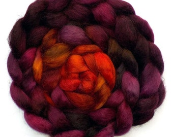 Wensleydale Roving Handpainted Combed Top - Fire Heart, 5.2 oz.